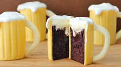 Decorate chocolate cakes filled with Baileys® Irish Cream ganache to make them look like beer mugs – topped with frothy whipped cream!