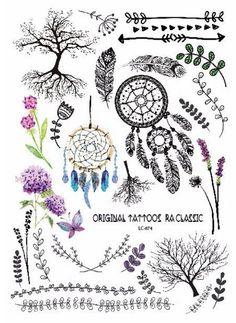 1sheet NEW Multi-style 25models Taty Temporary Tattoos arm tattoo Body paint Wolf Feather Owl Dreamcatcher kiss Colored tatuagem