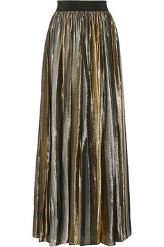Alice + Olivia's lustrous 'Tabetha' maxi skirt is crafted from gold and silver silk-blend lamé. Cut to sit at the slimmest part of your frame, this fully lined piece is pleated for beautiful movement and finished with a comfortable elasticated waist. Wear it with a black sweater and ankle boots.