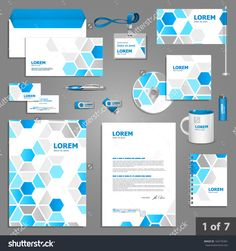Stationery template design with blue geometric elements. Documentation for business.