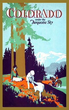 Colorado under Turquoise Sky - 1930 Poster. Printed on cotton. Ready to sew. Single 4x6 block $4.95.