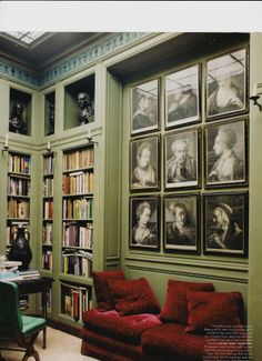 library built in bookcases - like the spot for piano or chaise/two chairs with pics above