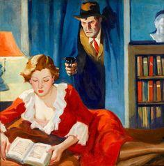 American Artist (20th Century) - Crime Noir, story illustration - Unknow artist.