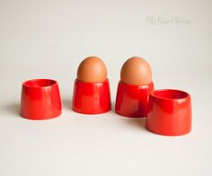 4 x Vintage Retro 1970s Orange Melamine GAYDON Egg Cups Picnic by UpStagedVintage on Etsy