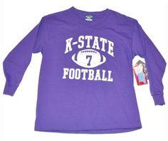 Kansas State Wildcats Blue 84 Long Sleeve Football #7 Youth T-Shirt