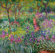 The Iris Garden at Giverny - Claude Monet; my favorite Monet painting. Monet Paintings, Impressionist Paintings, Landscape Paintings, Landscapes, French Paintings, Impressionist Landscape, Flower Paintings, Claude Monet, Artist Monet