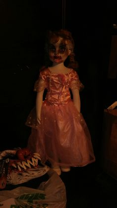 Creepy zombie doll. I used my granddaughter's doll