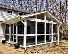 simple screened in porch, like the lights at the door