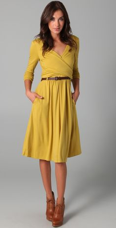 Tibi Wrap Wool Jersey Dress with Belt | SHOPBOP