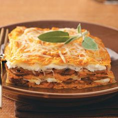Pumpkin Lasagna Recipe -I especially like this comforting fall dish because it's vegetarian. Even friends who aren't big fans of pumpkin are surprised by this delectable lasagna! Canned pumpkin and no-cook noodles make it a cinch to prepare. —Tamara Huron, Colorado Springs, Colorado