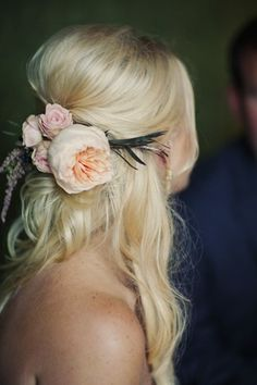Fresh peonies bring the perfect dose of pretty to an effortless updo.