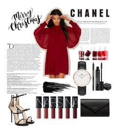 """""""Merry Christmas and Happy Holidays"""" by sunflowers-coco ❤ liked on Polyvore featuring Balmain, Nasty Gal, Essie, Rodial, Urban Decay, Giuseppe Zanotti, Balenciaga and Daniel Wellington"""