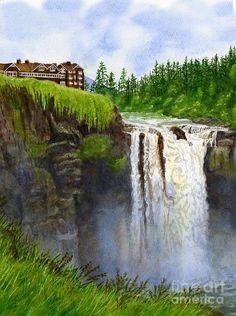 SHARON FREEMAN   Watercolor Snoqualmie Falls Vertical Design Painting