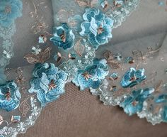 Blue embroidered lace I Lingerie lace I Embroidered lace I Net lace I Blue embroidered tulle I Fancy Luxury lace I Blue Lace trim I Lace by SixthCraft on Etsy