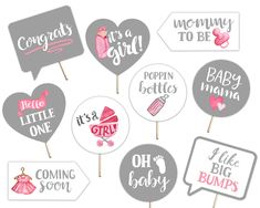 Baby Shower Printable Photo Booth Props - Baby Girl - Pink Gray and White - Simple Modern - 10 Hand Painted Signs by brighterprints on Etsy Painted Letters, Hand Painted Signs, Bridal Shower Quotes, Photobooth Props Printable, Bottle Images, Watercolor Images, Valentines Day Party, Photo Booth Props, Party Guests