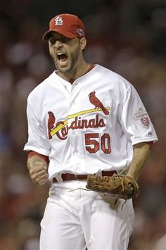 Game 4 of the NLCS- starting pitcher Adam Wainwright with another strikeout 10-18-12