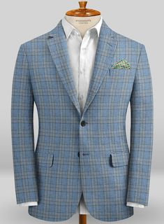 When temperatures rise, keep your cool with our impeccable and versatile Scabal Taormina Lodi Blue Linen Jacket. Crafted from 100% linen, the trend-forward plaid patterned jacket offers a certain kind of masculinity, heritage and attitude that makes it second to none, giving your attire a sartorial voice similar to your own personality.  #studiosuits #jacket #scabal #scabaljacket #taormina collection #bluejacket #linenjacket #mensoutfits #mensfashion #mensstyle #menswear #gentleman style  Light Blue Suit Wedding, Linen Jackets, Mens Fashion Blazer, Mens Suits, Suit Men, Fendi, Gucci, Black Oxfords, Formal Suits