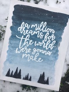 ~The Greatest Showman~ A million dreams for the world we're gonna make✨ #handlettering #watercolor