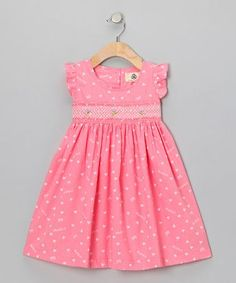 Take a look at this Lil Cactus Pink Heart Dress - Infant & Toddler on zulily today! Crafted with gathered sleeves, a Peter Pan collar and wide flowing skirt, this sweetly smocked frock offers an angelic look that's picture-perfect. Little Dresses, Little Girl Dresses, Cute Dresses, Girls Dresses, Frocks For Girls, Kids Frocks, Toddler Dress, Infant Toddler, Baby Frocks Designs