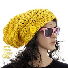 Slouchy Beanie Hand Knit Hat  Glowing Gold by HanzeePanzeeCreation