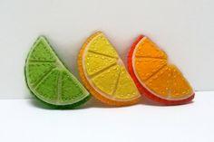 Fruit hair clips  citrus orange lemon lime cute hair by DusiCrafts