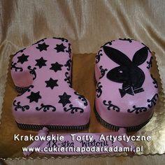 130. Tort na osiemnastkę z króliczkiem Playboya. Cake for 18th birthday with Playboy bunny.