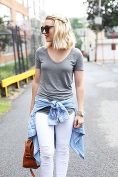 gray tshirt + white denim.