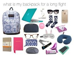 what is in my backpack for a long flight by yoxberry24 on Polyvore featuring moda, Accessorize, Aspinal of London, Speck, Vera Bradley, Hadaki, JanSport, Ray-Ban, Casetify and Ted Baker
