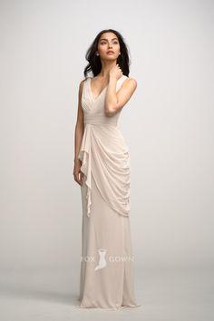 v-neck crinkle chiffon floor length natural waist bridesmaid dress
