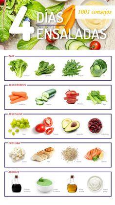 4 Ensaladas para bajar de peso - Spell Tutorial and Ideas Healthy Menu, Healthy Juices, Health And Nutrition, Healthy Tips, Healthy Snacks, Healthy Eating, Healthy Recipes, Nutrition Guide, Real Food Recipes