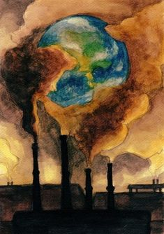 """""""This photo demonstrates how our world is being destroyed. Our generation oblivious to the impact that they pollute the earth. The government in America is so concerned with the growth of the economy Global Warming Drawing, Global Warming Poster, Global Warming Project, Air Pollution Poster, Earth Drawings, Environment Painting, Save Environment Posters, Save Our Earth, Poster Drawing"""