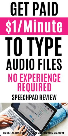 Get paid to type files. Transcription and captioning jobs for beginners with Speechpad. Make up to $1 per audio minute. No experience required. Best Online Jobs, Online Jobs From Home, Home Jobs, Online Work, Legit Work From Home, Legitimate Work From Home, Work From Home Tips, Transcription Jobs For Beginners, Transcription Jobs From Home