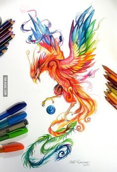 Regal Phoenix by Katy Lipscomb [Colour pencils and markers]