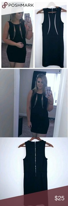 """Forever 21 Black Bodycon Dress Beautiful black dress. Mesh in front would look better without a bra or a different bra. Zipper in the black . Sleeveless. Stunning for a night out .  14"""" bust. Approx 32"""" long . I do not do trades but I do accept reasonable offers. Forever 21 Dresses Mini"""