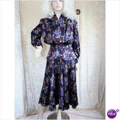#Designer Vintage 1980 Floral Peplum Jacket Skirt Suit Size 12 Bellino  dresses and skirt #2dayslook #new #tenderfashion  www.2dayslook.com