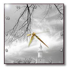 Amazon.com - 3dRose dpp_47487_1 St. George LDS Temple in Black and White with Wispy Clouds Wall Clock, 10 by 10-Inch -