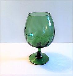 Vintage Italian Empoli Green Art Glass Brandy by TazamarazVintage