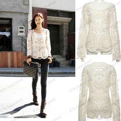 Popular Women's Lace Beige Retro Floral Top Long Sleeve Crochet T Shirt 3811 | eBay
