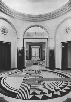 Lobby of Claridges Hotel London c. 1935, Rug by Marion Dorn
