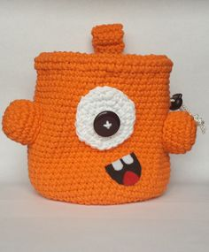 Orange Monster Rock Climbing Chalk Bag with red lining