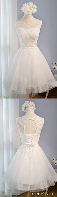 Lovely short white party dress tulle style