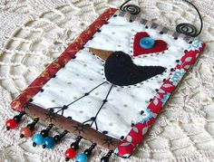 crow wall hanging mini quilt black bird by gonetoseed on Etsy, $20.00