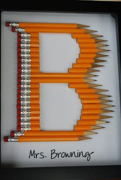 framed monogram crayon letter E | Personalized Teacher Gift: Framed Monogram in crayon or pencil. $25.00 ...