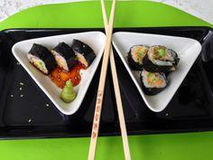 Tip van deVegetariër: Dit is een variatie op de klassieke sushi omwikkeld met zeewier. Snijbietblad dat je even in heet water hebt geblancheerd, word gevuld met een van onderstaande soorten