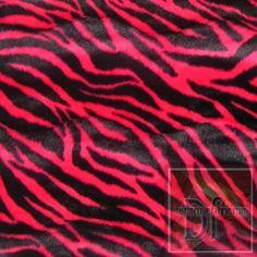 Red Zebra Print Fur www.distinctivefabric.com