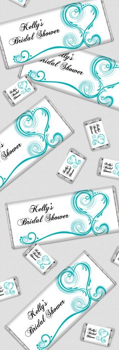Turquoise / Teal / Aqua Bridal Shower Ideas: Custom Wrapped HERSHEY'S Chocolate Bars with a Heart Theme for Bridal Shower Favors - Perfect for a candy buffet!