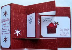 Crackerbox Palace rubber stamp Blog: Tri-Shutter Naughty Christmas Card from Crackerbox...