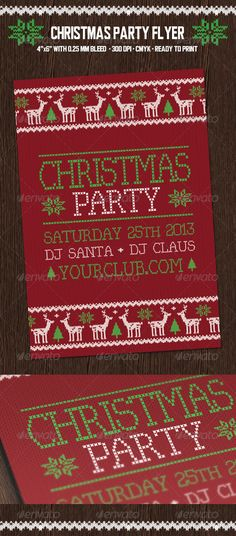 """Christmas Party Flyer with Deers - Holidays Events Christmas Party Flyer with Deers    Include:    1 Photoshop file (.PSD) 1 Read Me file    - 4"""" x 6"""" (4.25"""" x 6.25"""" with bleeds)    - 300 DPI    - CMYK Colors"""