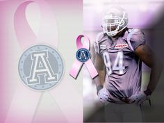 Defensive Tackle Kevin Huntley for our Pink game in support of research and prevention of women's cancers. Pink Games, Argos, Football Helmets, Nfl