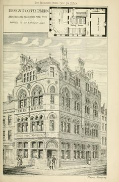 """Design for a """"Coffee Tavern"""" published in The Building News, December 10, 1880. The first coffee shop designs, it appears"""